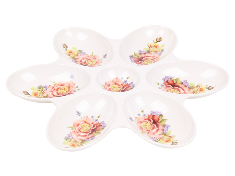 14 inch seven grid flower shaped fruit plate